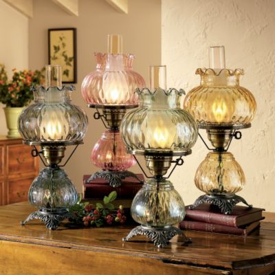 Victorian Shade Glass Hurricane Lamp Cobalt Blue Glass