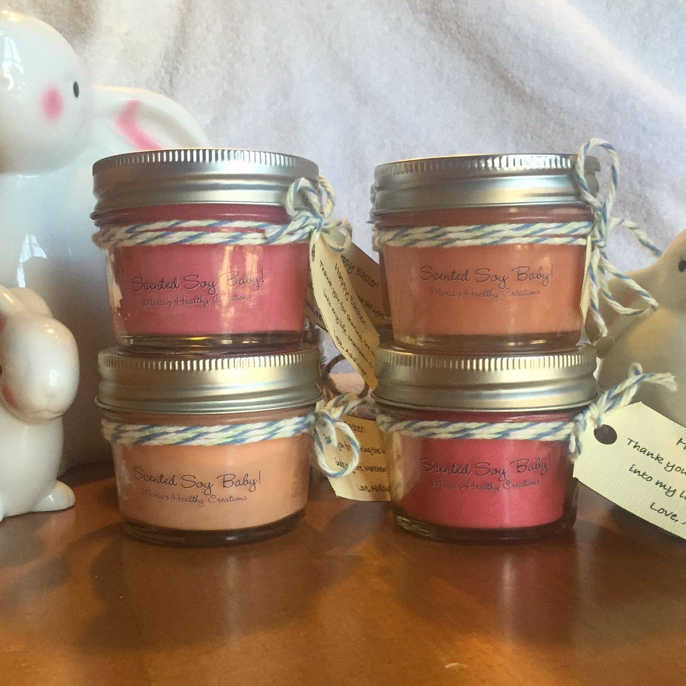 4oz glass jar soy candles 30 45 hours burn time these were for these were for preschool teachers easter gifts negle Gallery