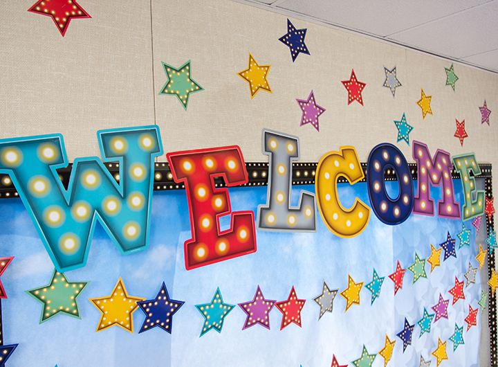 Marquee Welcome Bulletin Board Display Welcome Bulletin Boards Kindergarten Classroom Decor Kindergarten Bulletin Boards