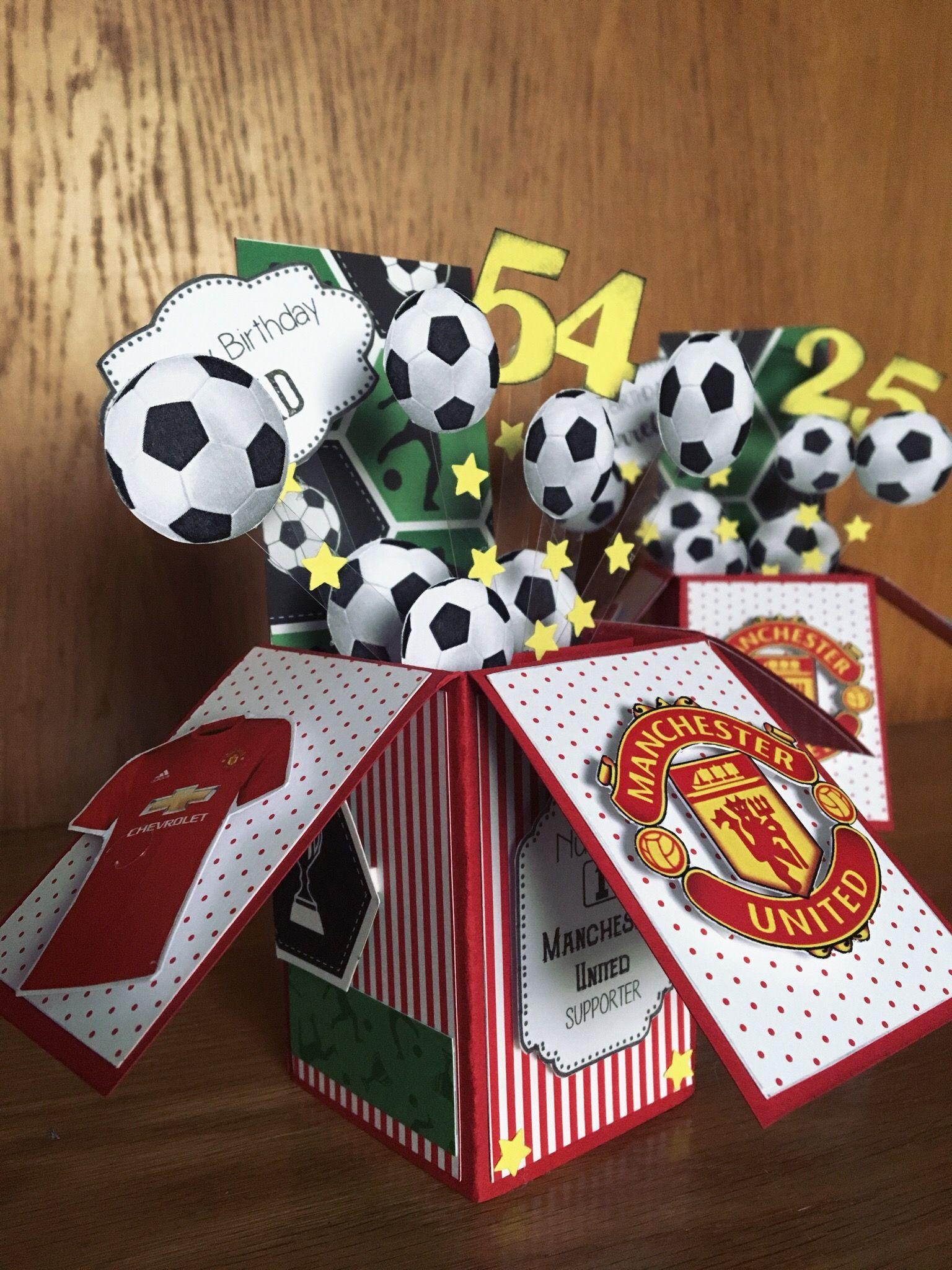 Handmade Manchester United Pop Up Card Football Birthday Card 3d Cards Handmade Birthday Card Pop Up Birthday Cards Diy