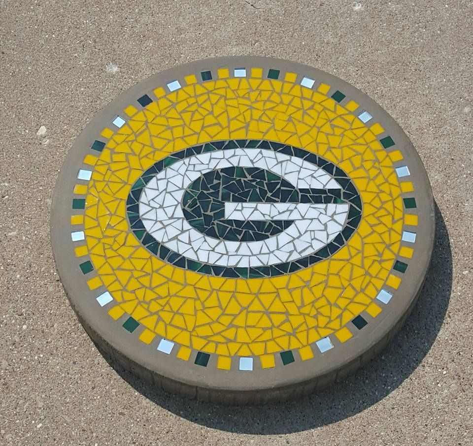 16 Green Bay Packer Mosaic Stepping Stone Mandala Rock Art Mosaic Stepping Stone Mosaic Stepping Stones