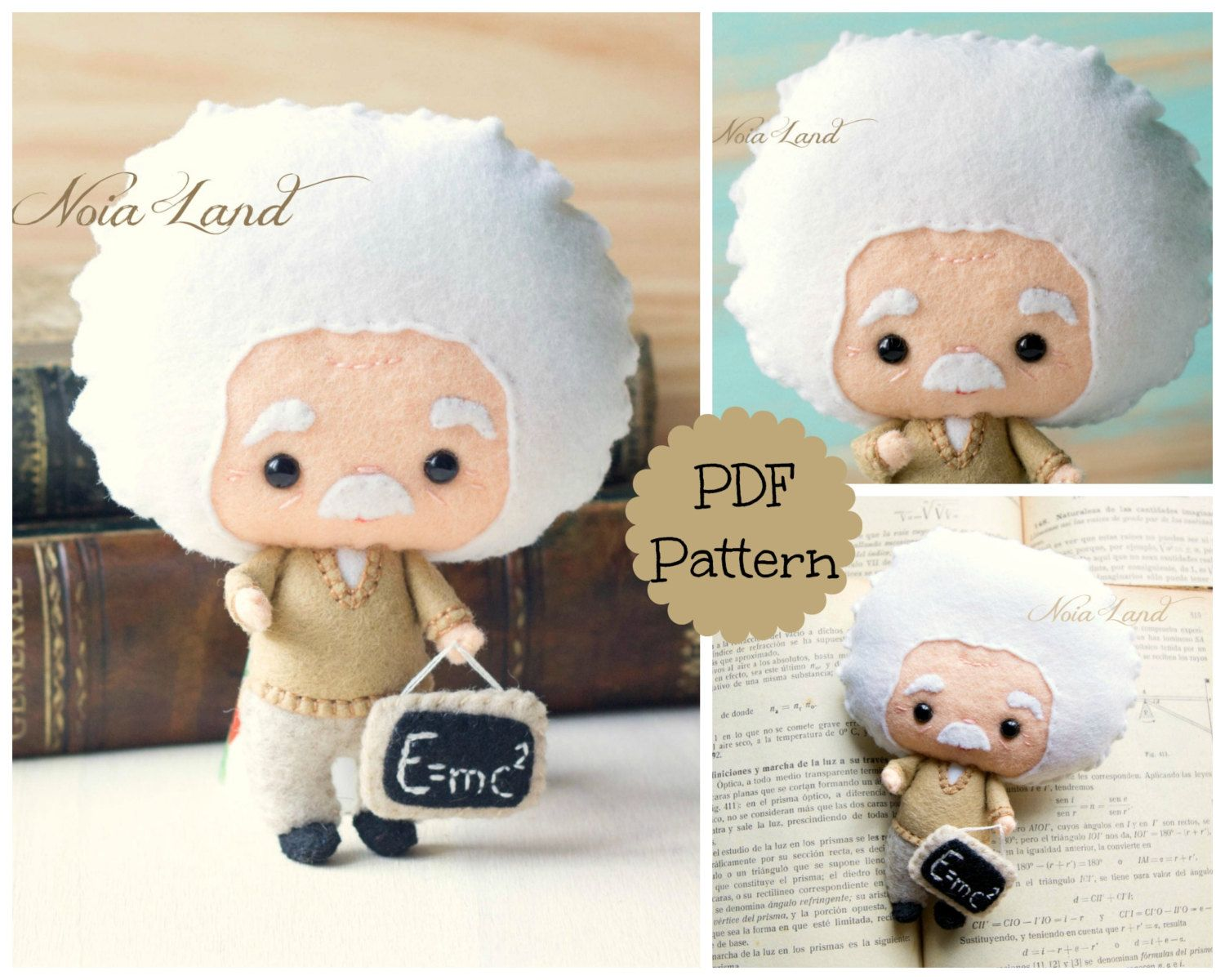Albert Einstein. PDF pattern. Felt doll