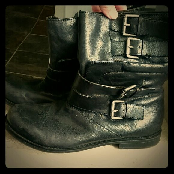 Black Biker Like Boots Vintage America Collection. Black leather pull on boots, they come above the ankle. Worn only a few times, but have a scuff on front left toe (as picture shows), can easily be repaired. Nine West Shoes