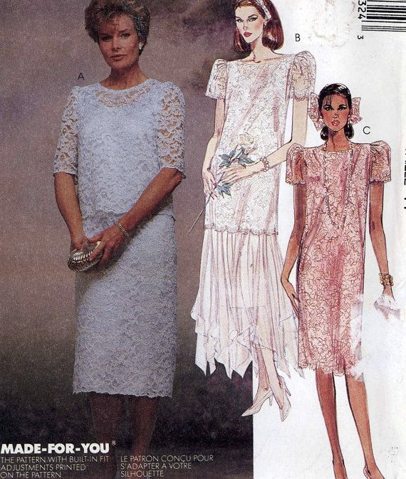 80s dress pattern Dropped waist dress Bride and Mother of the ...