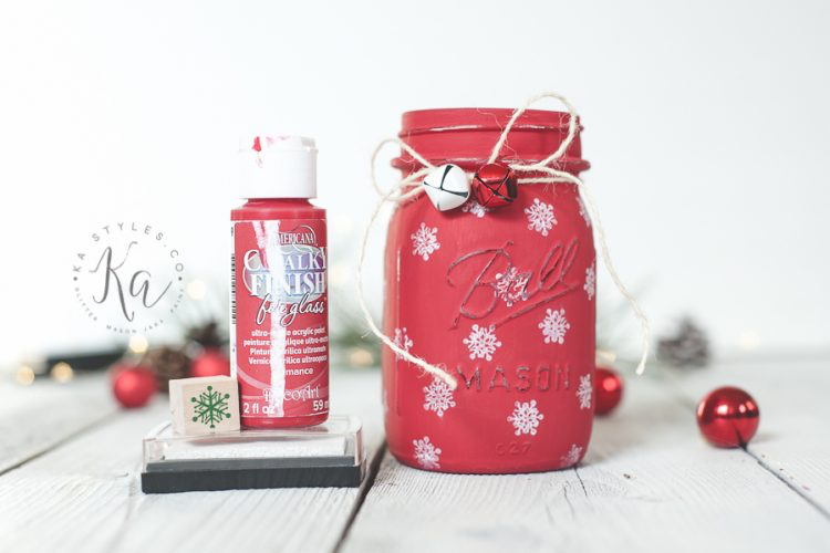 Stamped Snowflake Mason Jar Luminary #masonjarbathroom Stamped Snowflake Mason Jar Luminary - KA Styles #masonjarbathroom