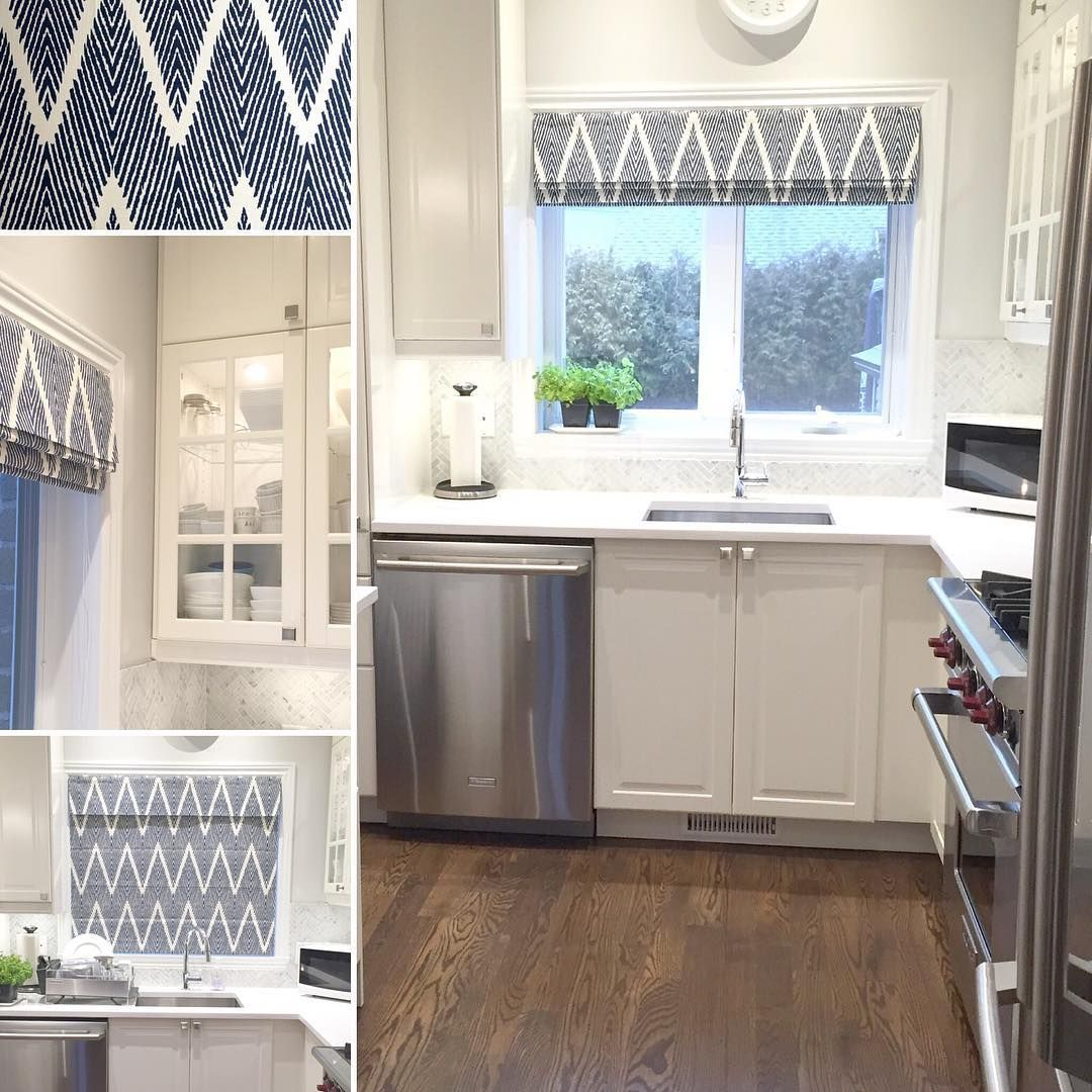 Chevron roman shade. The final touch to our white kitchen project.  Navy and…
