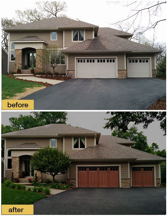 Natural Curb Appeal The Earth Tones On This Home Are The Perfect Backdrop For Clopay S Canyon Ridge Collection Garage Doors Garage Door Colors House Exterior