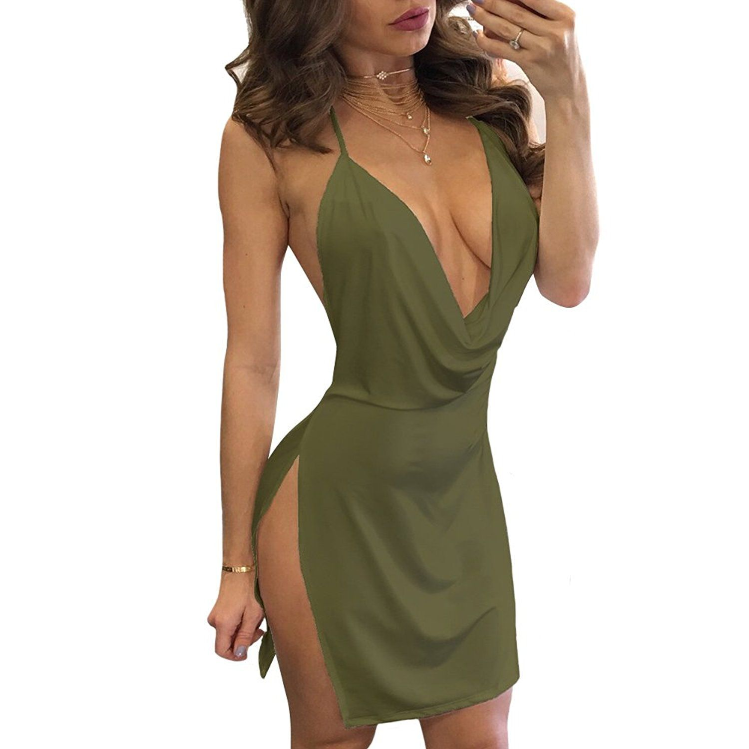 e89d778316a VANCOL Women s Sexy Deep V-Neck Halter Backless Slit Mini Party Club Dress