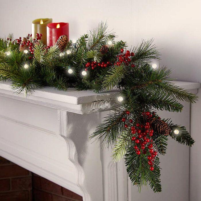 Cordless LED Pre lit Cone Berry Christmas Garland | Christmas ...