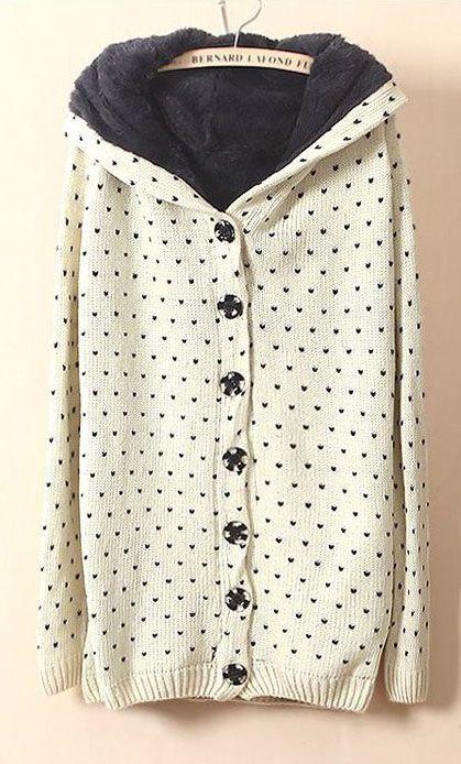 Beige Hooded Long Sleeve Polka Dot Cardigan Sweater