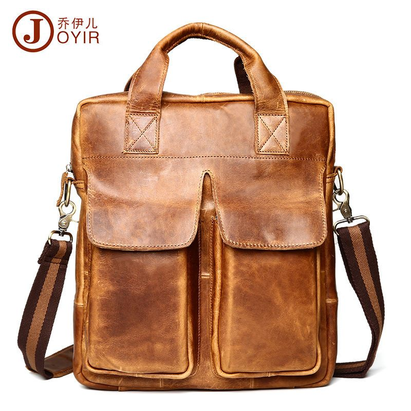 Men Crazy Horse Leather Front Pocket Satchel Briefcase Travel Carry On Handbag  #JOYIR #ToteBag