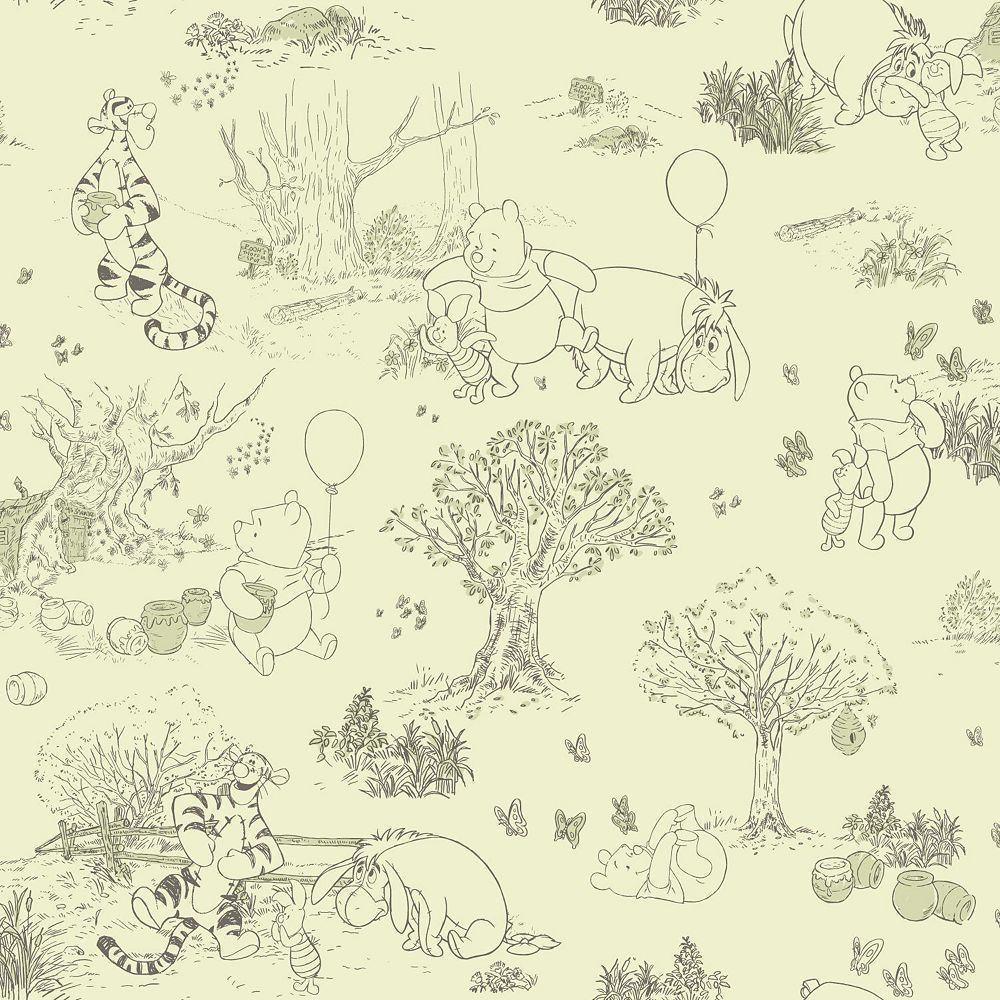 disney s winnie the pooh friends toile removable wallpaper rh pinterest co uk Winnie the Pooh Quotes Original Winnie the Pooh
