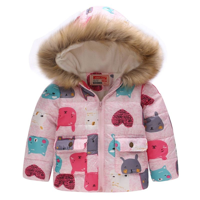 4d96f2aab0b4 Baby Girls Coat with Fur Hooded 2018 Kids Winter Coats for Girls ...