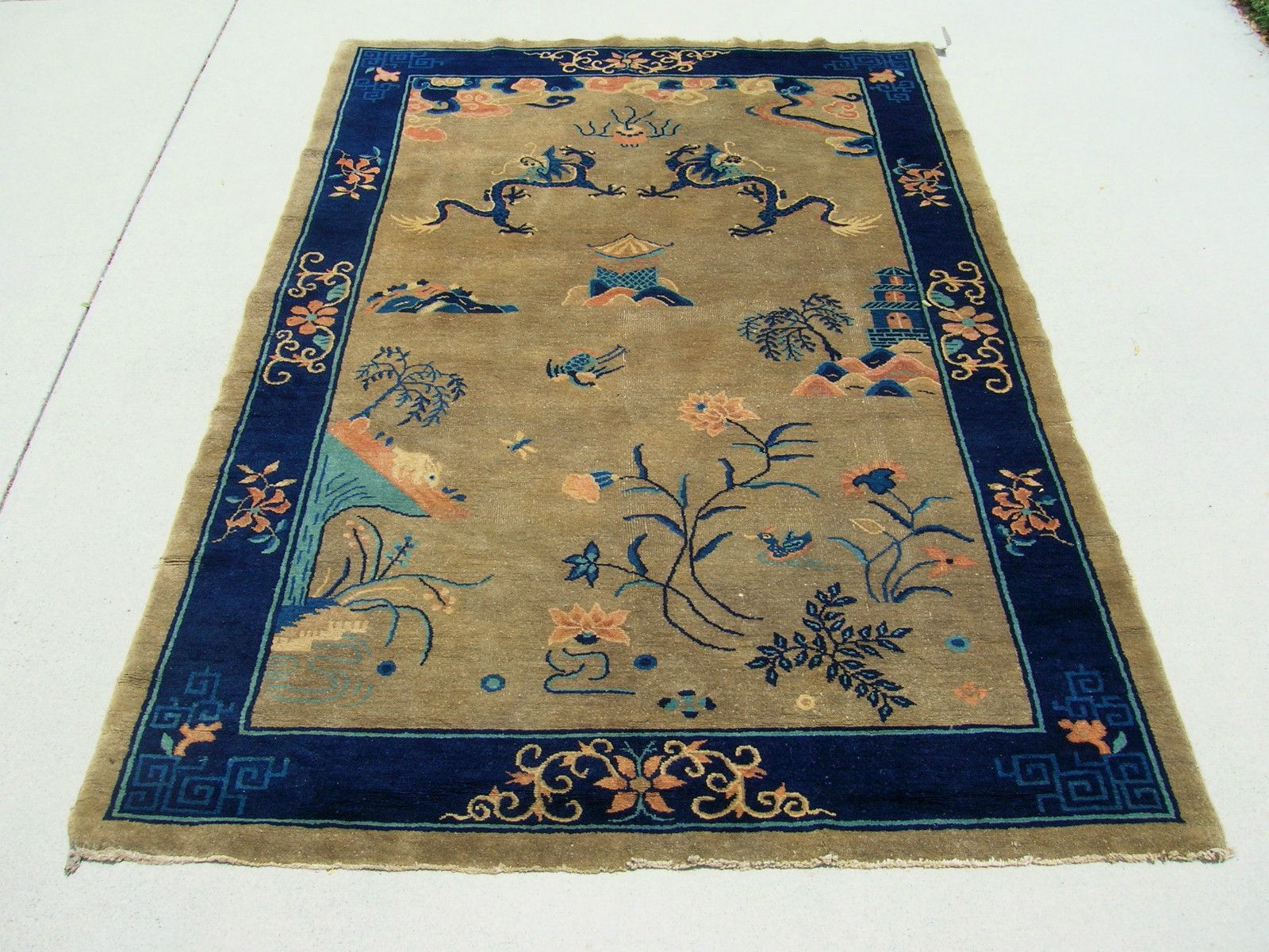 Vintage Plush Peking Chinese Hand Knotted Wool Rug 5 1 X 7 8 On