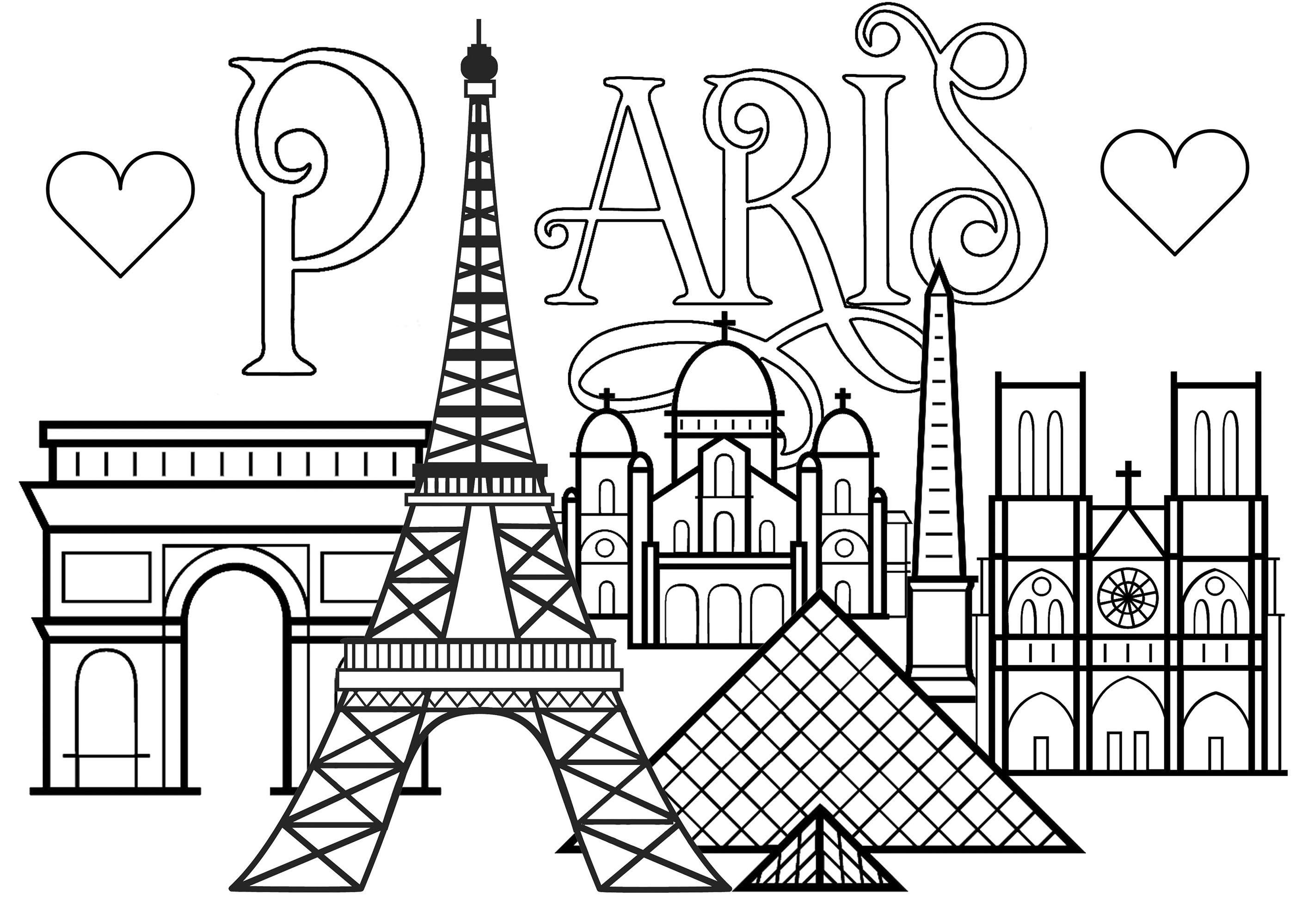 Texte Paris Avec Coeurs Et Monuments De Paris Tour Eiffel Arc De Triomphe Cathedrale De Notre D Coloriage Paris Coloriage Tour Eiffel Tour Eiffel Dessin
