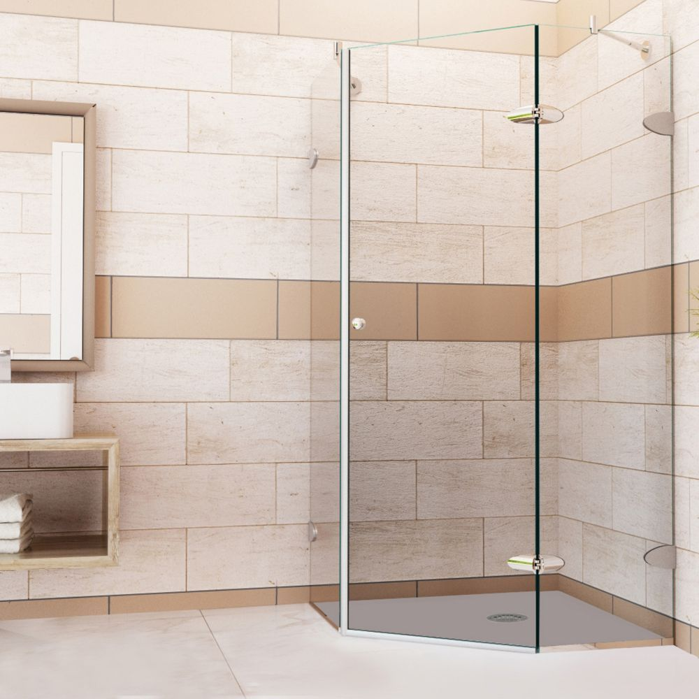 Beau VIGO Verona 42 X Frameless Neo Angle Shower Enclosure With Clear Glass And  Brushed Nickel Hardware (Shower Base Included)