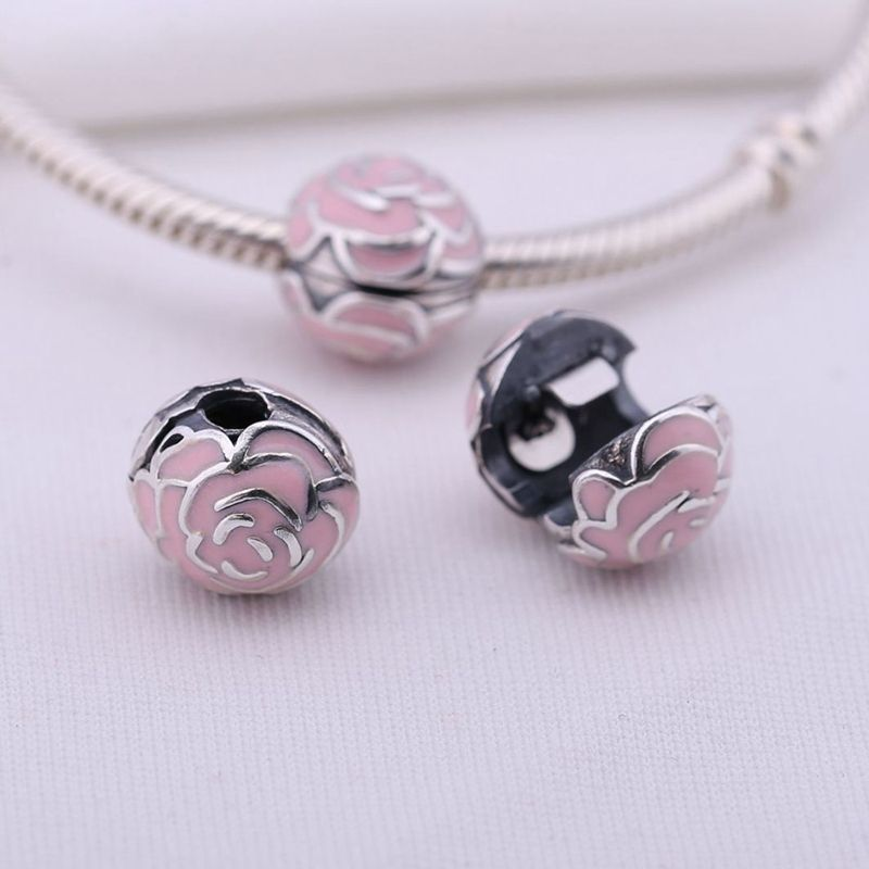 037012aa7 Click to Buy << Pink Flower Clips Lock Beads 925 Sterling Silver Stopper. >>
