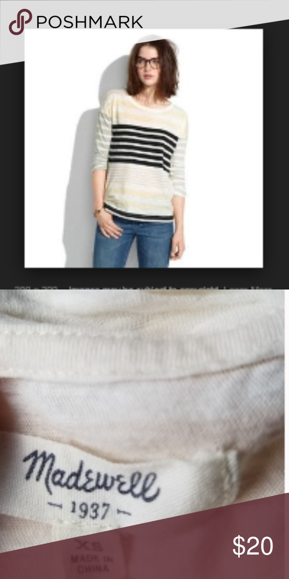 Madewell Crew Neck Multistripe Quarter Sleeve Tee Queens of the basic, easy to dress up or down. Sof...