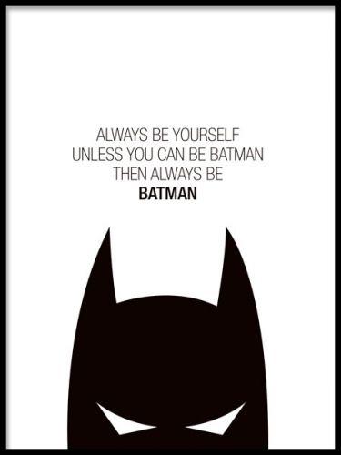 Musta texttposter lapsille Batman ja supersankareita