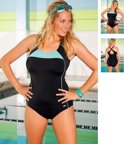 6a46e580a0 Aquabelle Mint Border Plus Size Cross Back Swimsuit Style 2741 ...