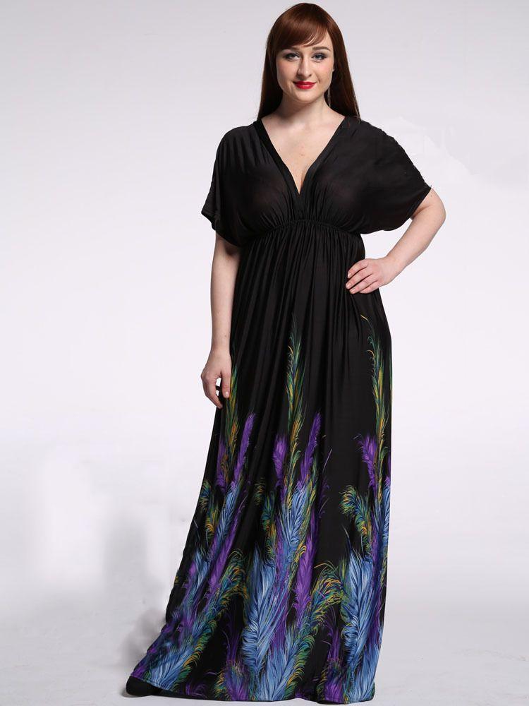 bafc6b76b45 US  11.56 Top Sale Women Ice Silk Long Black Maxi Dress Feather Printed  Short Sleeve 6Xl Deep V Neck Dress