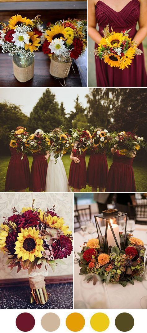 Dark red and sunflower fall wedding ideas Minus the burlap Wedding 8 Beautiful Wedding Color Ideas In Shades of Red Wine and Burgundy