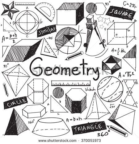 Geometry Math Theory And Mathematical Formula Doodle Handwriting Icon In White Isolated Background With Hand Drawn