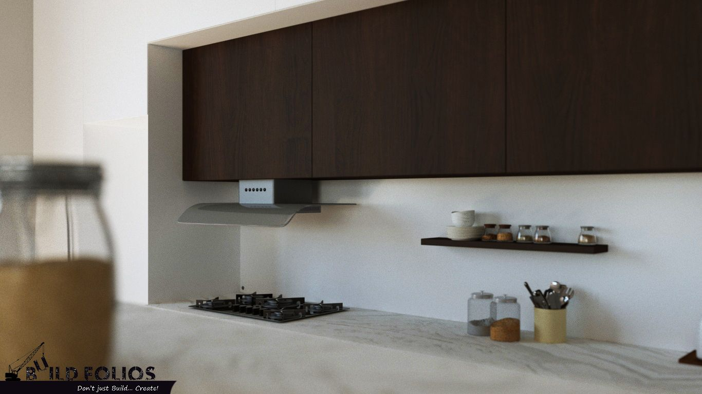 Crema Marfil Marble Countertop With Concealed Chimney Design By