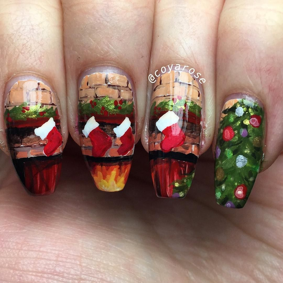 Hand Painted Christmas Fireplace Nail Art Tree Stockings Nails