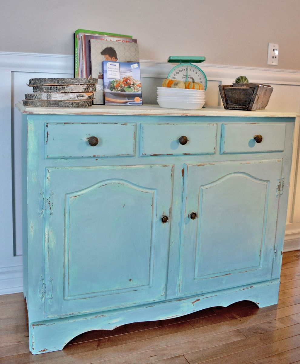 Buffet turquoise et beige style shabby rustique chic2