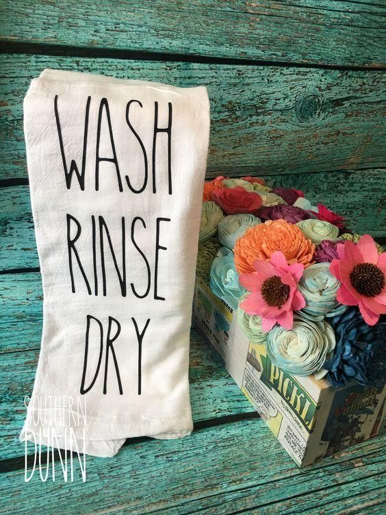 Rae Dunn Inspired Kitchen Towel - Flour Sack Towel - Tea Towel #dishtowels