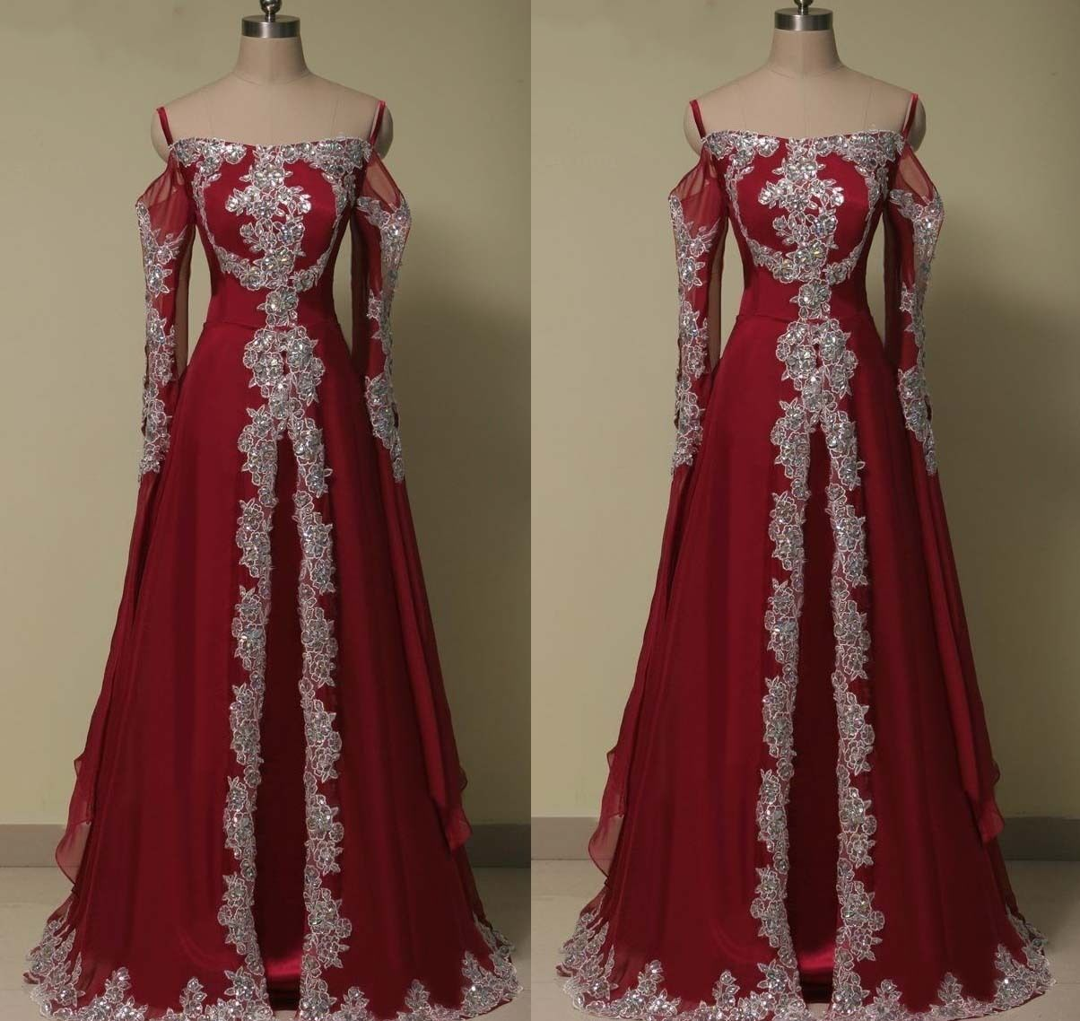 Nice awesome plus size arabic long sleeve evening prom dress muslim