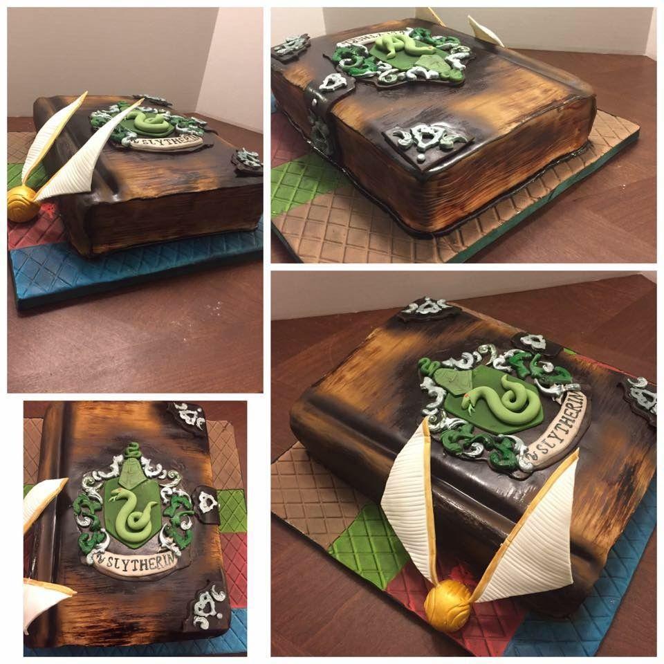 Harry Potter Slytherin Book Cake Kiaras Bday Harry Potter Cake