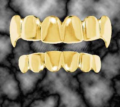 Silver Plated  Fang Teeth Grillz Tooth Fangs Halloween Fancy Dress Dracula
