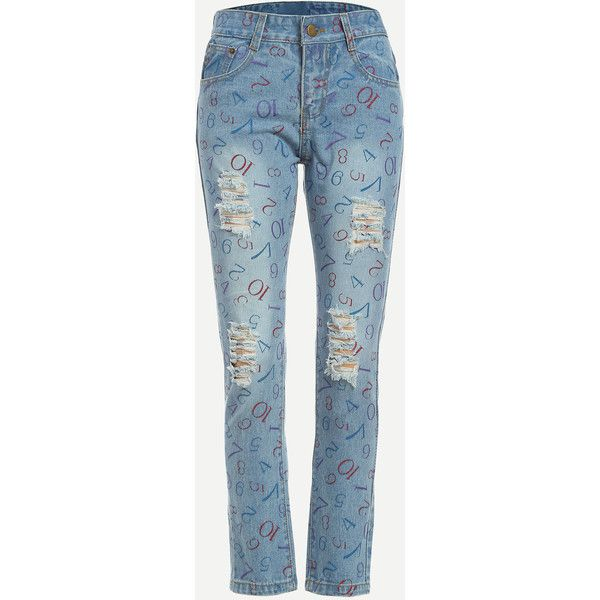 Blue Number Print Ripped Jeans (£15) ❤ liked on Polyvore featuring jeans, blue, patterned jeans, blue jeans, long jeans, torn jeans and destroyed denim jeans