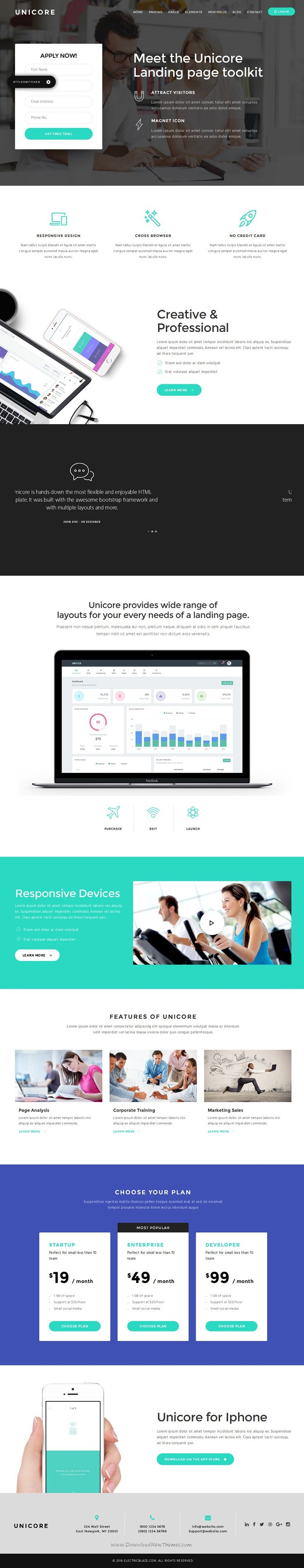 Unicore Mobirise Builder With HTML Bootstrap Landing Page - Bootstrap landing page template