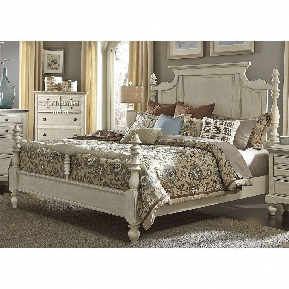 Farmhouse King Size Country Pine Solid Wood White 4-Poster ...