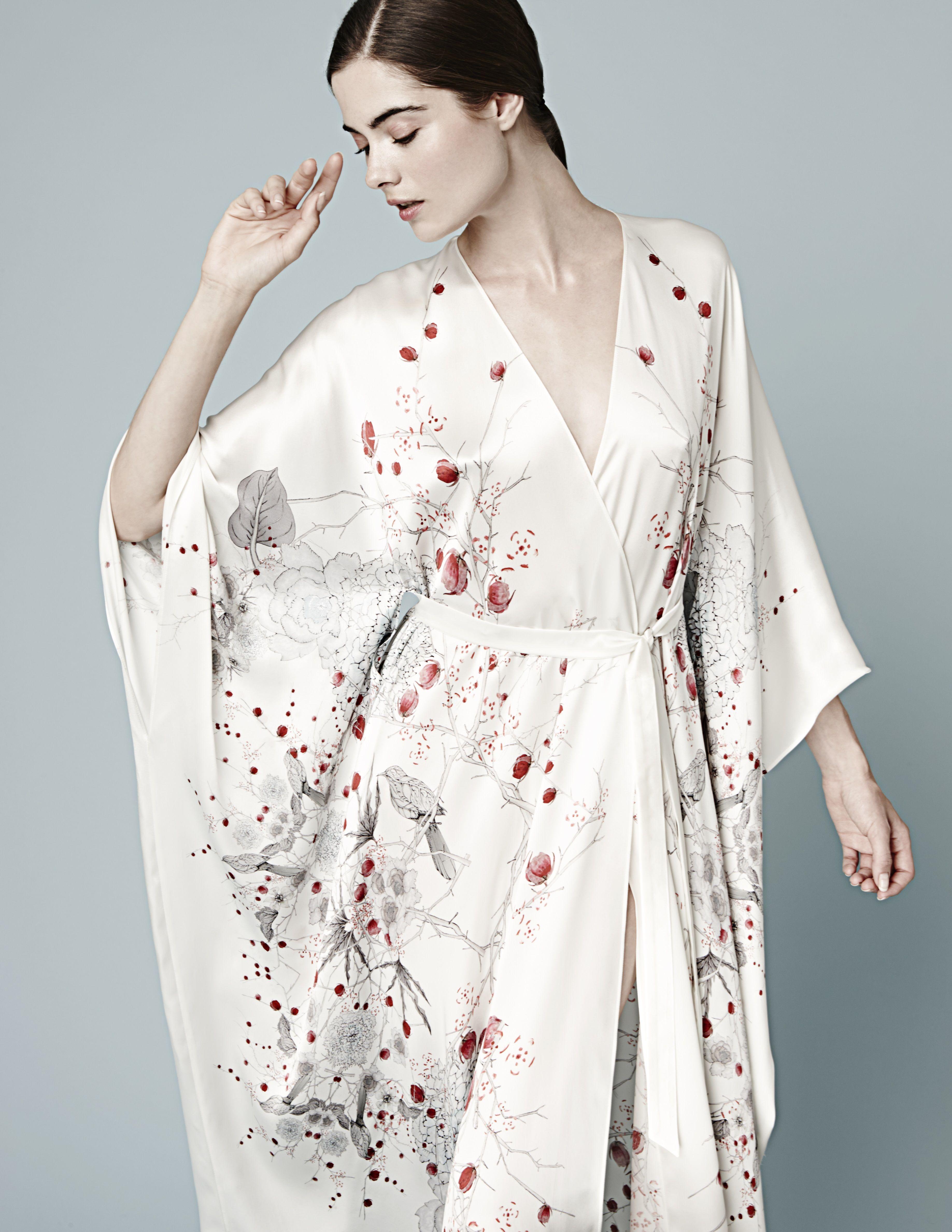 71c59856e7 Meng AW14 luxury loungewear - Cherry Blossom print - silk satin v neck wrap  - white