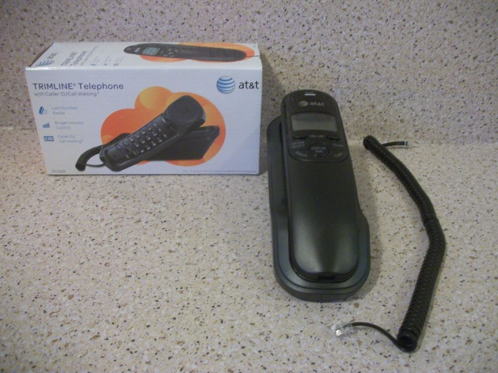 At T Tr1909 Trimline Corded Phone With Caller Id Wall Mount New