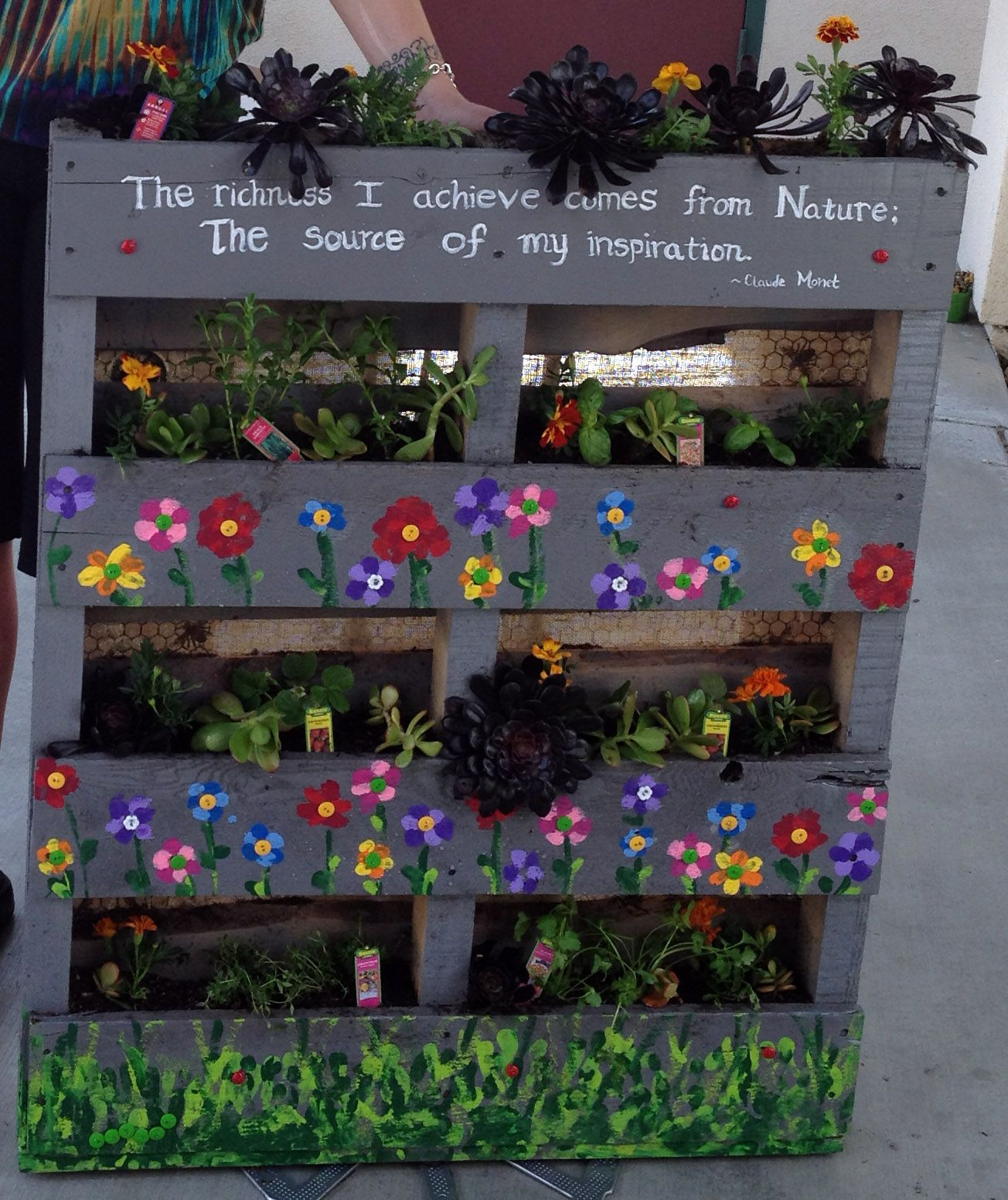 pallet planter art project 1st grader handprints make grass at bottom and fingerprints for - Web Design Project Ideas