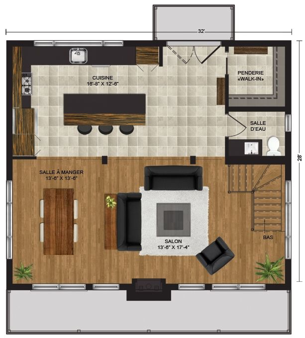 Plan du premier étage Maison Pinterest - plan de maison a etage moderne
