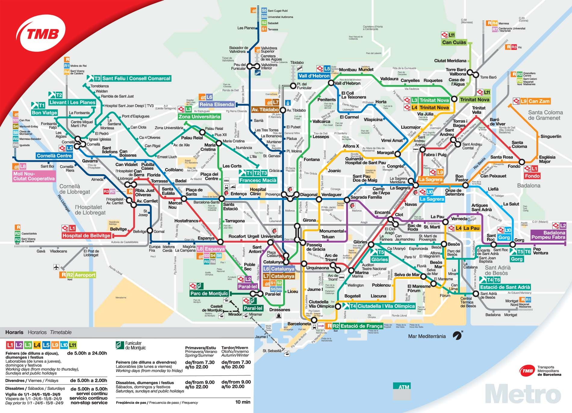 The Metro In Barcelona Metro Map Tourist Map Barcelona Tourist Map