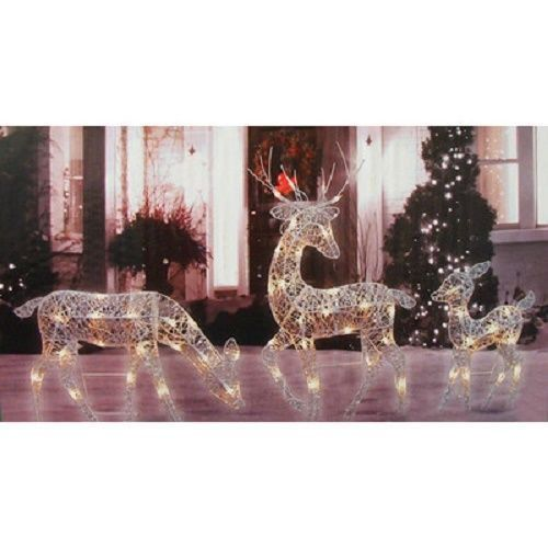 Christmas Reindeer Lawn Decoration 3pc Outdoor Lighted Yard Prop Silver Glitter Penn