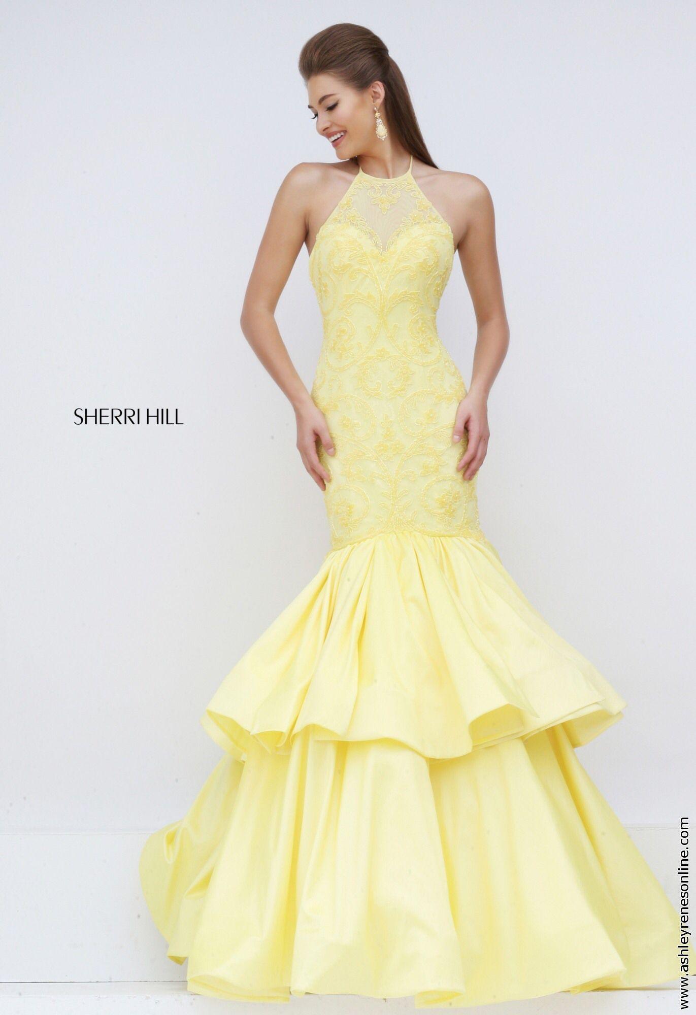 Sherri hill yellow prom dress at ashley reneus elkhart in