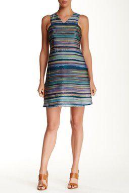 Striped Watercolor A-Line Dress