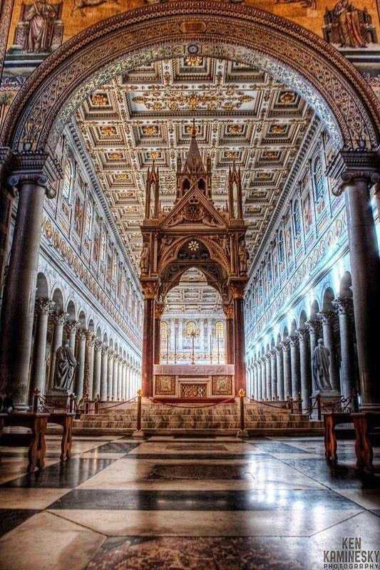 Interno Basilica Di San Paolo Fuori Le Mura Roma Church Architecture Rome Basilica