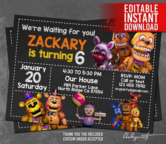 5 Nights At Freddys Invitation With Five Thank You Tag FREE Editable