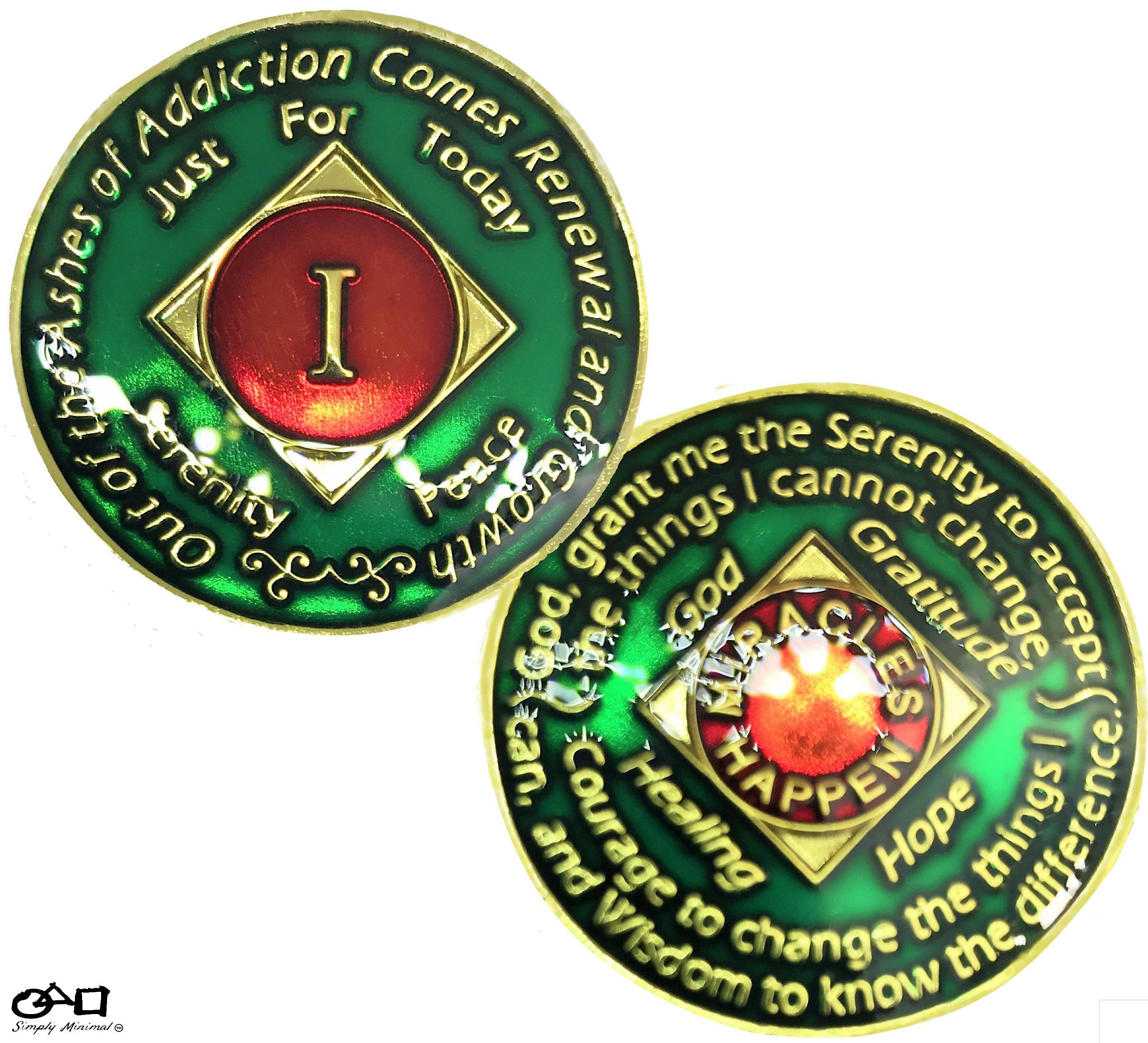 NA Coin 4 Year Gold Color /& Clear Epoxy Tri-Plated Recovery Medallion Token