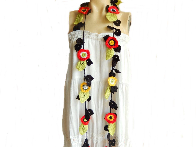🌺  🌼 Vermelho Crochetar Cachecol deixa o colar de Laço -  /   🌺  🌼   Red Crochet Scarf Leaves Necklace Lariat -