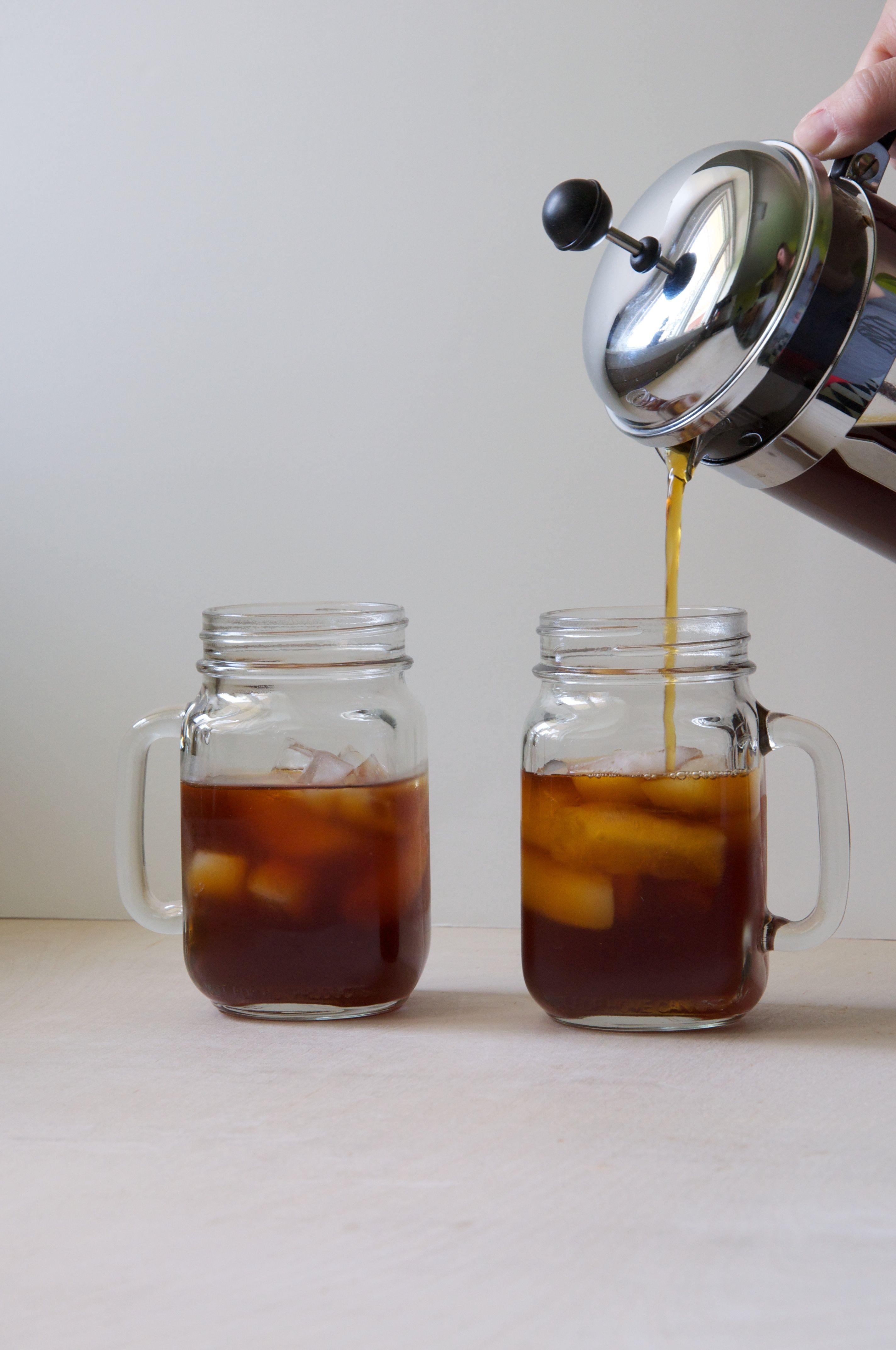 French press cold brew coffee with vanilla bean coconut